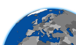 Europe on globe political map Royalty Free Stock Photography