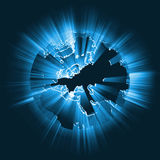 Europe glowing light beam global flare Royalty Free Stock Image