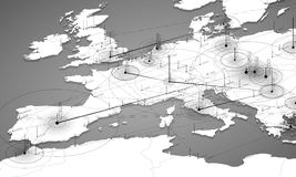 Europe grayscale map big data visualization. Futuristic map infographic. Information aesthetics. Visual data complexity. Complex europe data graphic Stock Image