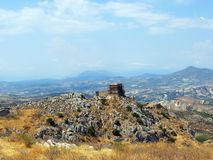 Greece,Corinth,the last fortification on the top of the rock stock photo