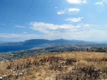 Greece,Corinth,from the top of the mountain stock photos