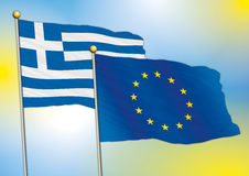 Europe and greece flags Royalty Free Stock Image