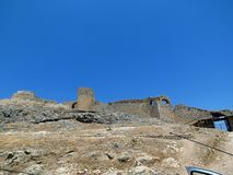 Peloponnese, restoration of the remains of a medieval castle royalty free stock photos