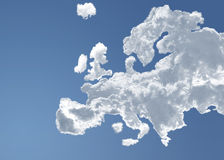 Europe in heaven. Europe in the clouds of a blue heaven Stock Illustration
