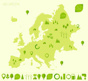 Europe high detailed map ecology green flat icons Royalty Free Stock Photo