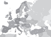 Europe high detailed vector political map. All elements separated in detachable and labeled layers Royalty Free Stock Photo