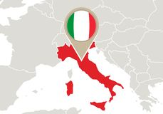 Italy on Europe map. Europe with highlighted Italy map and flag vector illustration