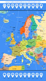Europe highly detailed political map with navigation icons Royalty Free Stock Images