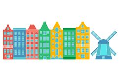 Europe house or apartments. Set of cute architecture in Netherlands.  colorful old houses Amsterdam vector illustration
