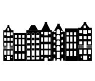 Europe house or apartments. Set of cute architecture in Netherlands.  old houses Amsterdam silhouette vector illustration
