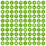 100 Europe icons hexagon green. 100 Europe icons set in green hexagon isolated vector illustration Royalty Free Illustration