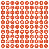 100 Europe icons hexagon orange. 100 Europe icons set in orange hexagon isolated vector illustration Stock Image