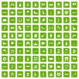 100 Europe icons set grunge green. 100 Europe icons set in grunge style green color isolated on white background vector illustration Royalty Free Stock Photos