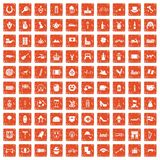 100 Europe icons set grunge orange. 100 Europe icons set in grunge style orange color isolated on white background vector illustration Royalty Free Stock Photos