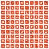 100 Europe icons set grunge orange. 100 Europe icons set in grunge style orange color isolated on white background vector illustration Royalty Free Illustration