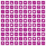 100 Europe icons set grunge pink. 100 Europe icons set in grunge style pink color isolated on white background vector illustration Royalty Free Stock Photography