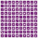 100 Europe icons set grunge purple. 100 Europe icons set in grunge style purple color isolated on white background vector illustration stock illustration