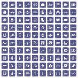100 Europe icons set grunge sapphire. 100 Europe icons set in grunge style sapphire color isolated on white background vector illustration Stock Illustration