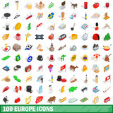 100 europe icons set, isometric 3d style Stock Photos