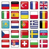 Europe Icons Squared Flags. Zip includes 300 dpi JPG, Illustrator CS, EPS10. Vector with transparency Royalty Free Stock Images