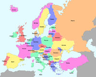 Europe. Illustration of europe chart, colorful countries shape Stock Photos