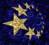 Europe Industry. And European Union economy business concept with a blue flag and yellow gold stars made of gears and cogs as a symbol of a working connected Stock Photos