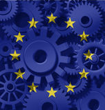 Europe industry manufacturing made in factory. European union symbol of industry and manufacturing represented by gears and cogs royalty free illustration