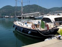 Europe. Italy. Liguria. Specia harbour. Sailing yacht moored on a pier. Summer 2015.  Stock Photos