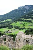 Ruin Summit rock panorama landscape of the mountains in south tyrol italy europe. Europe italy South Tyrol panorama landscape summit rock nature wild forest stock photo