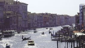 Europe. Italy. Venice. Panoramic view of the Grand canal from the bridge on a Sunny summer day stock footage