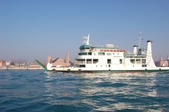 Italy, Venices. Sea ferry in the background of the city. royalty free stock photos