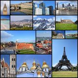 Europe landmarks collection. Europe landmarks - tourism attractions collage including London, Oslo, Paris, Rome, Florence, Vienna, Belgrade, Kiev, Warsaw and royalty free stock photos