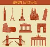Europe landmarks flat icon set. Travel and Tourism. Vector Royalty Free Stock Image
