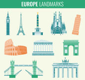 Europe landmarks flat icon set. Travel and Tourism. Vector Royalty Free Stock Photos