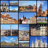 Europe landmarks. Photo collage from cities of Europe. Collage includes major cities like London, Rome, Stockholm, Vienna, Milan, Seville, Gdansk and Warsaw Stock Images