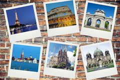 Europe landmarks. Polaroid photos on brick background royalty free stock image