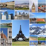 European trip. Europe landmarks - tourism attractions collage including London, Oslo, Paris, Rome, Florence, Vienna, Belgrade, Kiev, Greece and Alps stock images