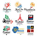 Europe logo. Logo for travel agencies. Travel, holidays in Europe, icon, symbol Stock Photo