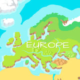 Europe Mainland Vector Cartoon Relief Map. Europe mainland cartoon relief map with mountains, climate zones, rivers, seas and island flat vector illustration Stock Image