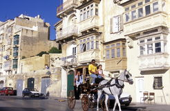 EUROPE MALTA VALLETTA. The traditional Balconys on the Houses in the Old Town of the city of Valletta on the Island of Malta in the Mediterranean Sea in Europe Stock Images
