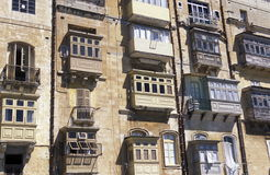 EUROPE MALTA VALLETTA. The traditional Balconys on the Houses in the Old Town of the city of Valletta on the Island of Malta in the Mediterranean Sea in Europe Royalty Free Stock Photography