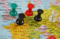 Europe on map. Close-up of map. Germany and Austria in focus, other countries are blured royalty free stock photography