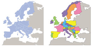 Europe map. Two europe maps: one soft coloured in light blue and one with colorful countries. Eps available Royalty Free Stock Image