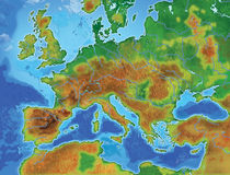 Europe map. Drawn detailed europe color map royalty free illustration