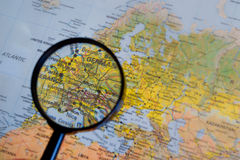 Central Europe map. Central Europe concept with magnifying glass focused on its countries Royalty Free Stock Images