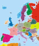 Europe map. Colored europe map on the blue background Royalty Free Stock Photos