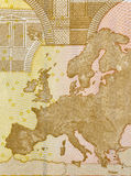 Europe map on back of fifty euro bill Royalty Free Stock Photos