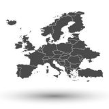 Europe map background vector. Europe map with shadow background vector illustration Stock Photos