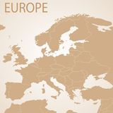 Europe map brown . Vector political with state Stock Photo