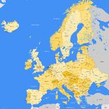 Europe map cities. Vector detailed Europe map (cities Royalty Free Stock Photo